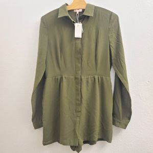 NWT Re:Named Army Green Long Sleeve Romper D34
